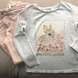 H and M grey/pink outfit, 2/3-4 years